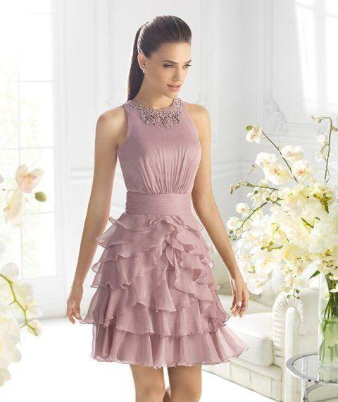 vestido-de-madrinha-curto-com-babados | Formatura in 2019 | Pinterest | Dresses, Prom dresses and Outfits