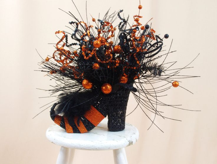 witch shoe centerpiece halloween decor halloween centerpiece witch boot floral arrangement wicked - Halloween Centerpieces