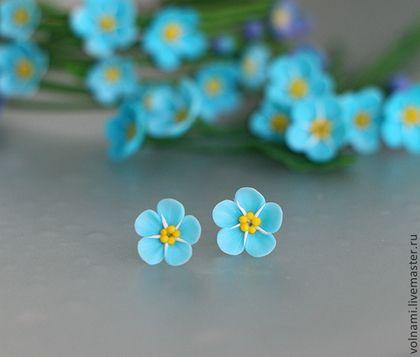 """Незабудки"" - незабудки,серьги,серьги гвоздики,серьги голубые,голубой цвет"