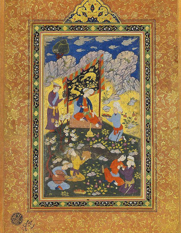 فرمانروا در تفرجگاه، مکتب رضا عباسی، احتمالاً قزوین، دوره صفویه، ربع آخر قرن 16 میلادی A RULER IN A LANDSCAPE SCHOOL OF REZA 'ABBASI, PROBABLY QAZVIN, SAFAVID IRAN, LAST QUARTER 16TH CENTURY Gouache heightened with gold on paper, a turbanned royal figure sits beneath a tented canopy being served refreshments as musicians and revelers entertain in the foreground, with attribution raqm-i kamtarin Reza-i 'Abbasi in the right margin. Painting 23 x 14cm ; folio 37 x 26.2cm