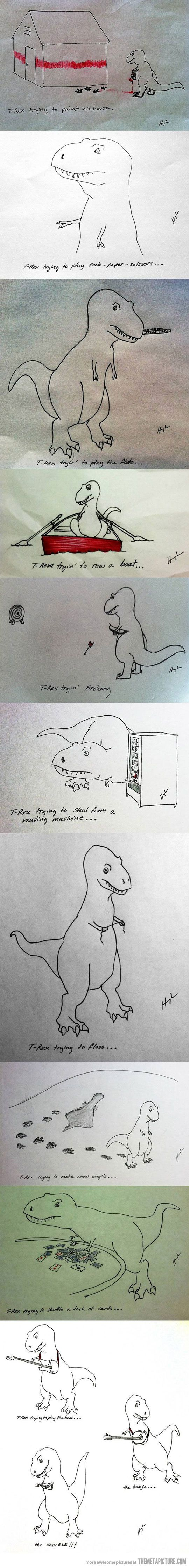 Poor T-Rex when I saw this I felt like crying I don't know why but I did! ):