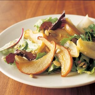 Mesclun and Roasted Pears with Grainy Mustard Vinaigrette