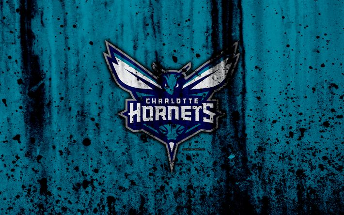 Download wallpapers Charlotte Hornets, 4k, grunge, NBA, basketball club, Eastern Conference, USA, emblem, stone texture, basketball, Southeast Division