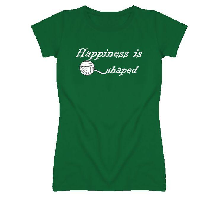 Happiness is Yarn Shaped Knitting T-shirt