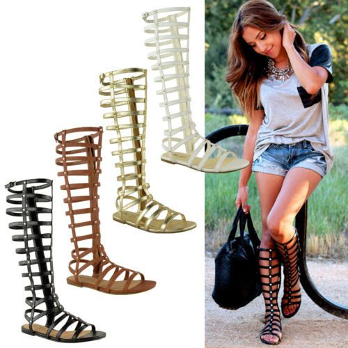 Details about LADIES WOMENS KNEE HIGH GLADIATOR SANDALS CUT OUT FLAT STRAPPY SUMMER SHOES SIZE
