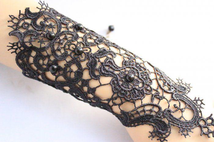 Готический викторианской платье костюм Clothings готический черный свадебные перчатки кружево лолита браслет