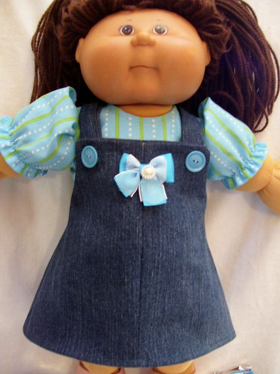 Cabbage Patch Doll Clothes, Denim Jumper Set, fits 16inch to 18inch Dolls