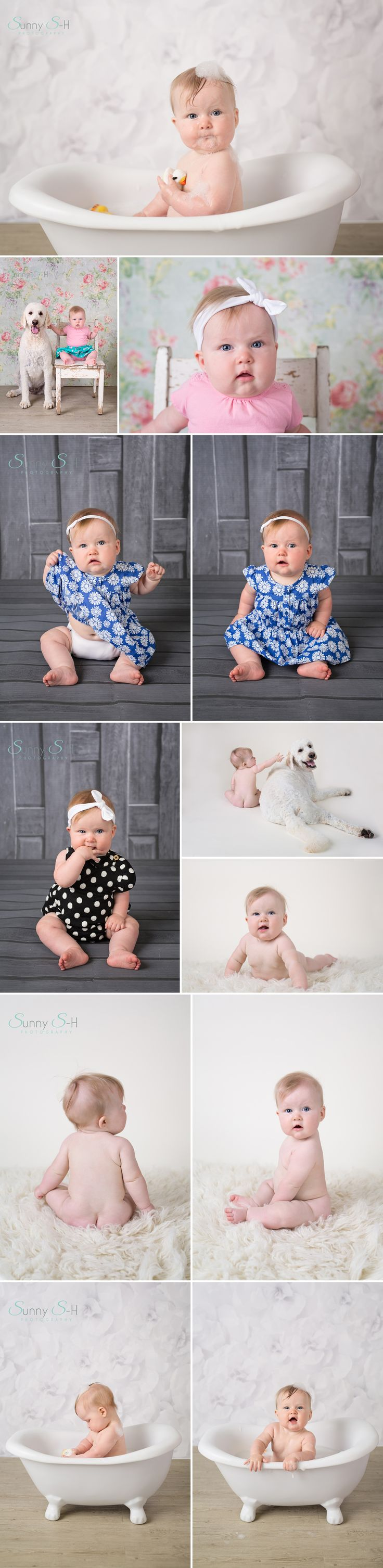6 month old Charlize and her sitting baby stage session.  Studio light.