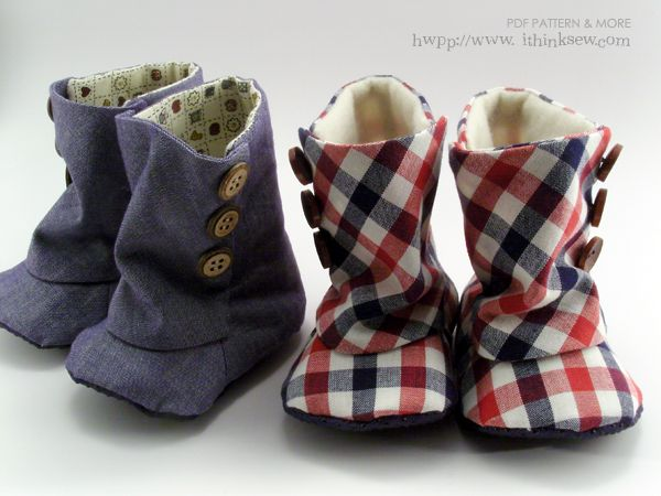Baby 3 Button Boots PDF Pattern on: ithinksew.com