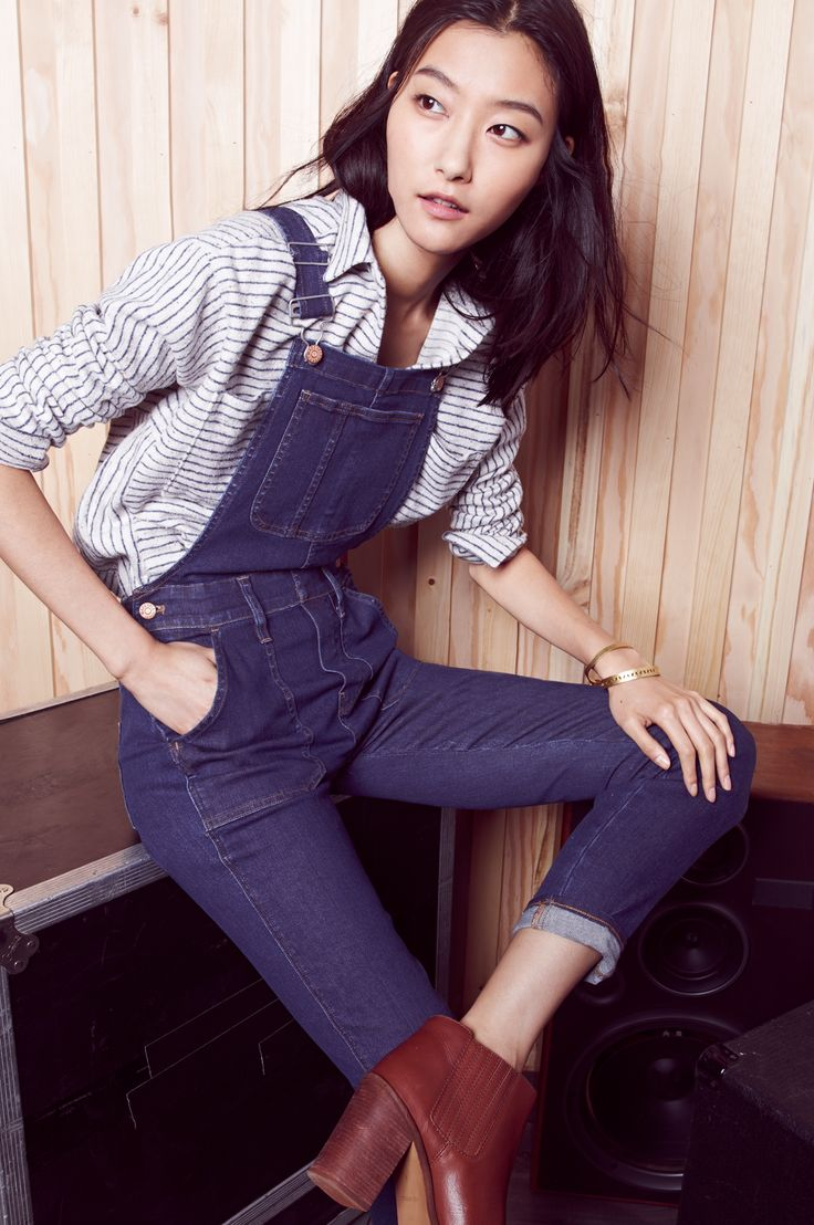 madewell skinny overalls worn with the flannel sunday shirt + ryan chelsea boot. #denimmadewell