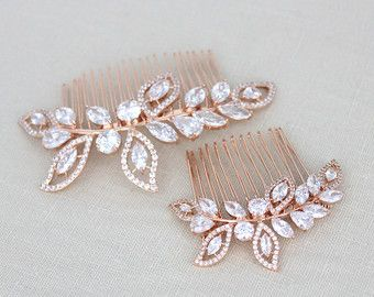 Champagne crystal hair comb Bridal hair comb by treasures570
