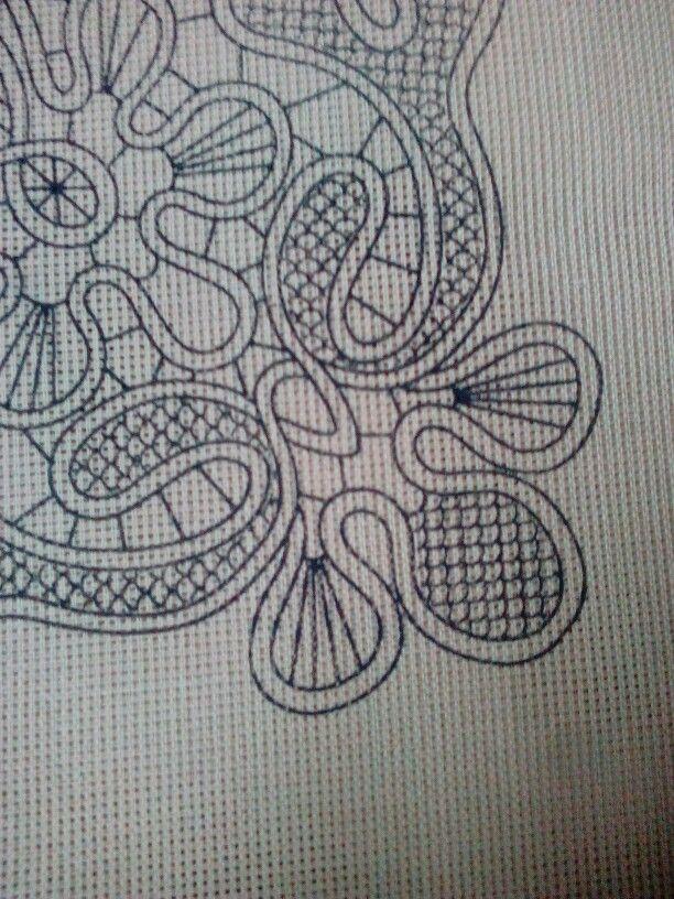 Κοντινή φωτο του τυπωμένου καμβά με το λασέ και την σταυροβελονιά,απο το σχέδιο…
