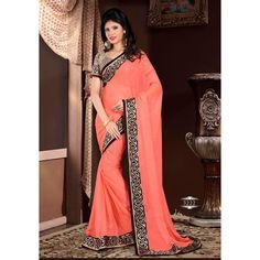 Designer Peach Embroidery Georgette Saree with Blouse at just Rs.1499/- on www.vendorvilla.com. Cash on Delivery, Easy Returns, Lowest Price.