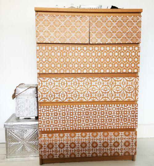 Annie Sloan Chalk paint + 5 different stencils + an IKEA Malm dresser = amazing transformation!