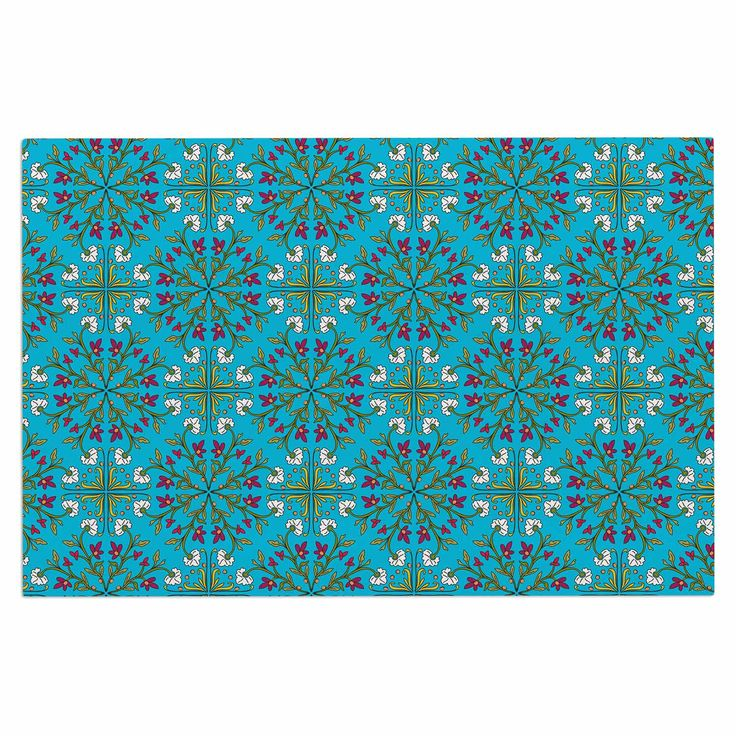 "Mayacoa Studio ""Morrocan Tile In Blue"" Geometric Floral Decorative Door Mat"