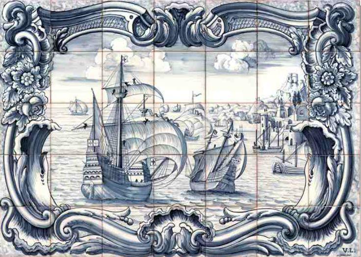 #azulejos #bateau réf: cerb_137_3_1 #mer #carrelage #tile #boat #sea #decoration #bleu #blue