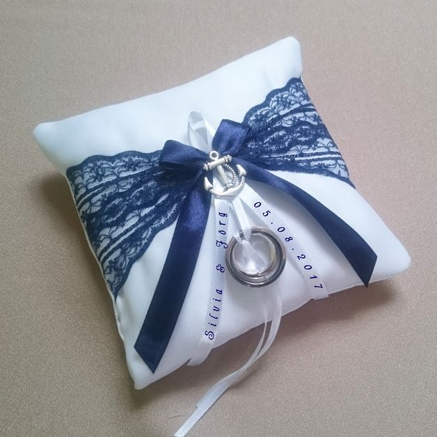 Ring cushion anchor Maritime nautical wedding  – Hochzeit ( Kleider, Frisur, etc…)