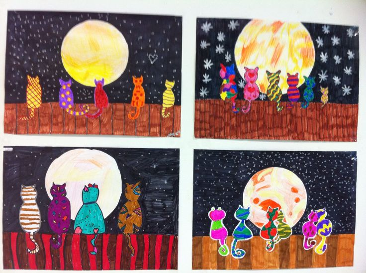 Katten in het maanlicht. Gemaakt met mijn groep 8. This would be fun to do the moon, stars, cats and fence in oil pastel and then watercolor the sky black