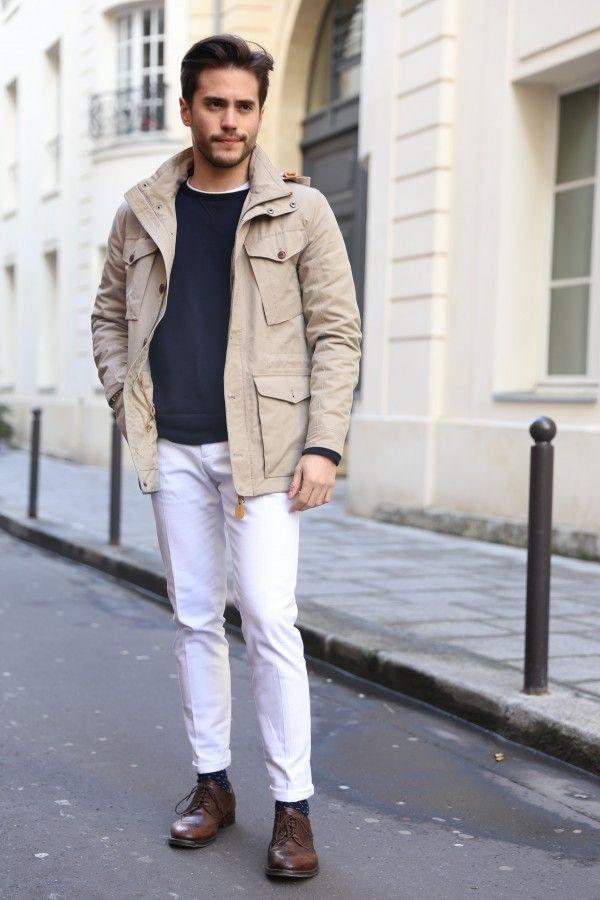 street style saharienne hommeSaharienne BGA-01, sweat Uniqlo, jean blanc De Fursac, derby d'un artisan florentin et chaussettes Asos