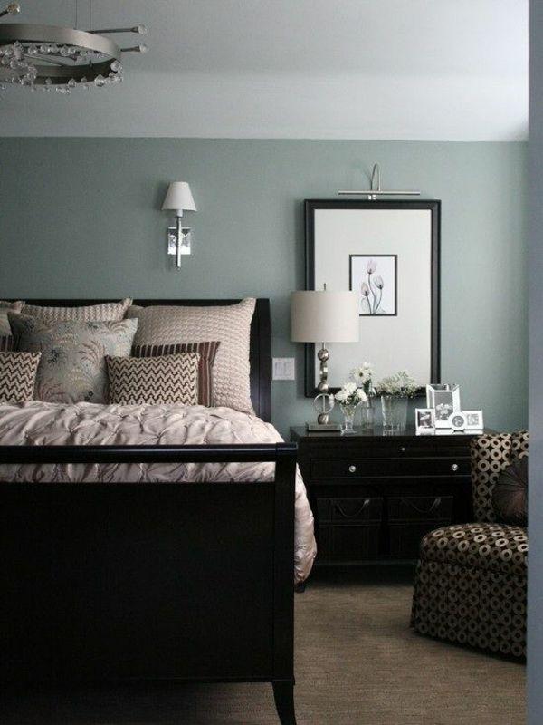 schlafzimmer bett wandfarbe grau
