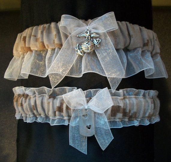 Marine corps garter! #marine #wedding  I would never do one of these, but I think it's hilarious still.