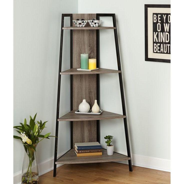 Corner shelf ladder rustic wood metal bookshelf accent for Office corner shelf