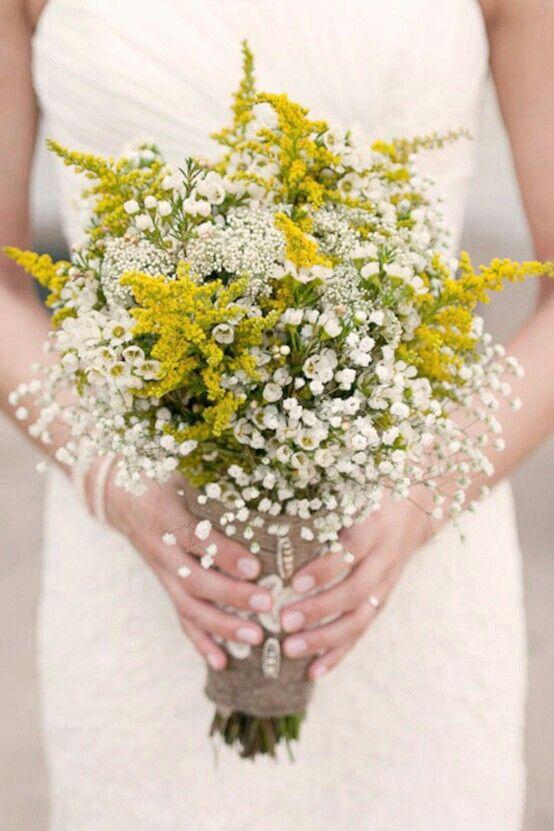 Beautiful Yellow & White Rustic Bridal Bouquet: Yellow Solidago, Green Bupleurum, White Riceflower, White Wax Flower, & White Gypsophila (Baby's Breath)^^^^