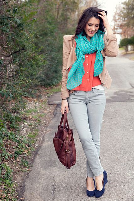Grey jeans with orange/coral top and turquoise scarf and ...