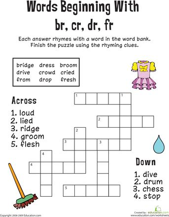 consonant blends worksheets and crossword on pinterest. Black Bedroom Furniture Sets. Home Design Ideas