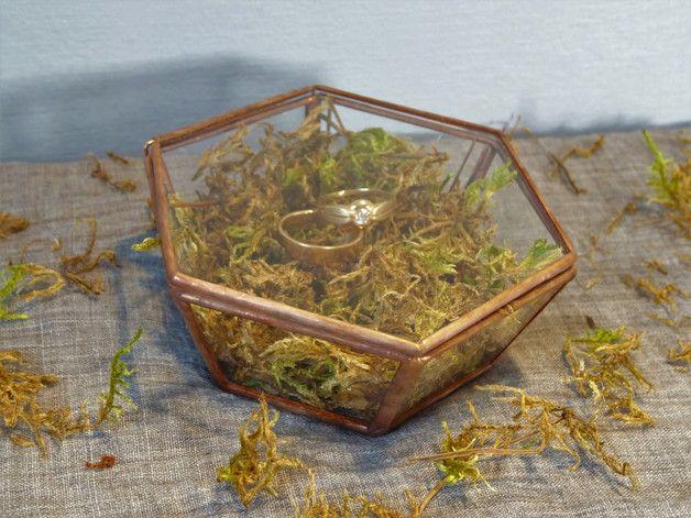 Szklane pudełko na obrączki, biżuterię, drobiazgi - GlassWoodMe - Poduszeczki na obrączki