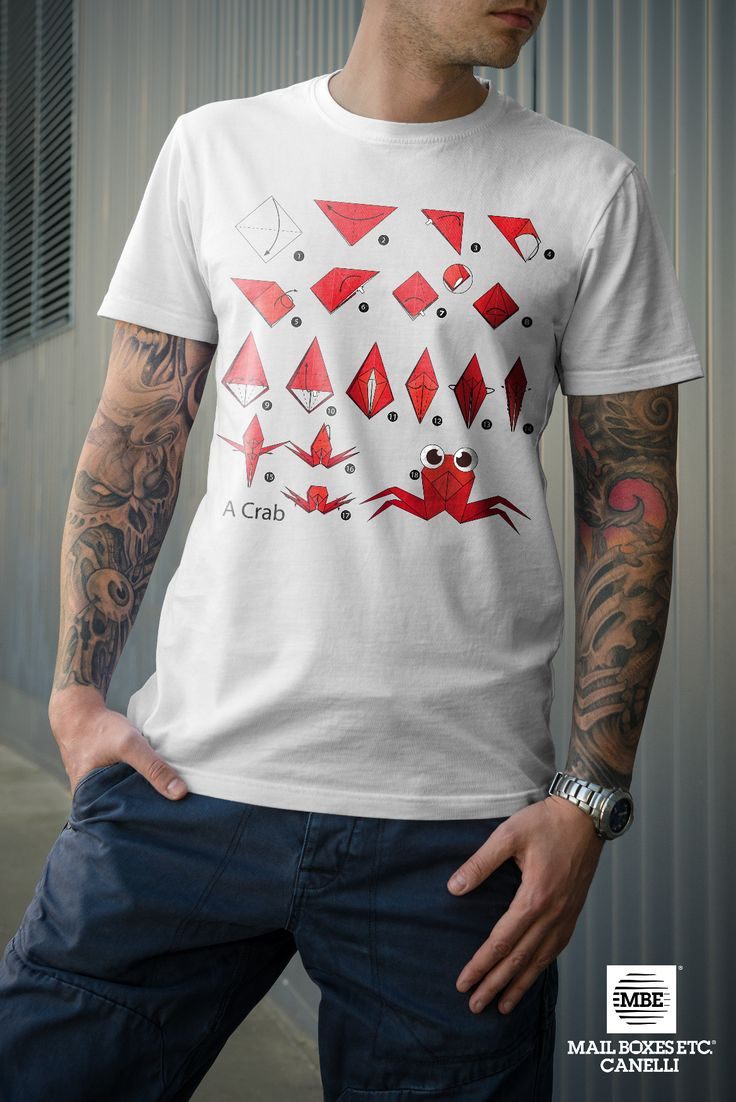 T-shirt origami, Crab! Per info: mbe644@mbe.it 0141 822675