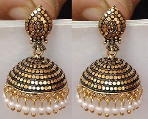 Ethnic Bollywood Jewelry Gold Tone White Indian Pearl Earrings Jhumka Jhumki