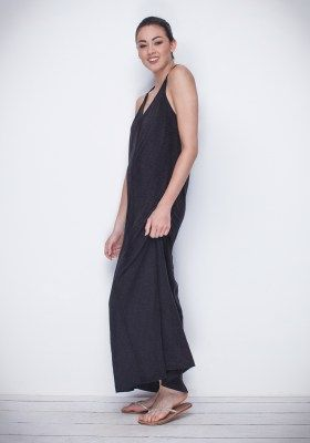 Simple, chic but with a wow factor. The 'Christa' Dress is loose fitting, flowy and extremely comfortable. With thin straps that gathered at the back and a flattering v-neck, this is the dress for weekend adventures. Teamed with our Bandeau underneath for a finishing touch. Available in Black Slub and Stone. AUD $79.90 | #buddhawear #womenswear