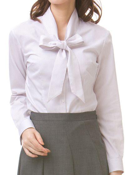 【シルバーライン】リボン襟デザイン ブラウス【AOKI】レディーススーツ・ジャケット・礼服・ネクタイ・シャツも充実