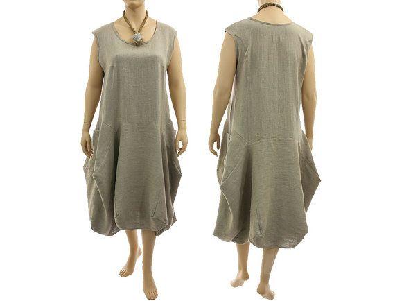 Boho linen maxi dress pinafore summer dress in dark von classydress