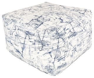 Outdoor Blue Nautical Large Ottoman - modern - ottomans and cubes - by Majestic Home Goods
