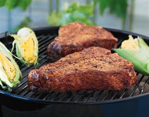 Grilled T-Bone Steaks with BBQ Rub -- This could be called beef at its best. A simple rub including chili powder, garlic and brown sugar adds that special touch.