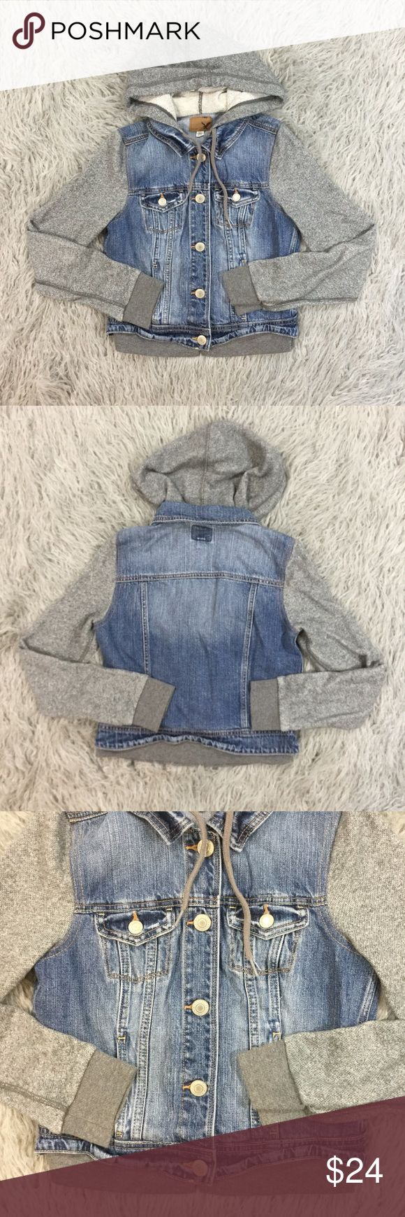 American Eagle Denim Sweatshirt Jacket In excellent used condition. Denim body with gray sweatshirt sleeves and hoodie. Size S, true to size. American Eagle Outfitters Jackets & Coats Jean Jackets