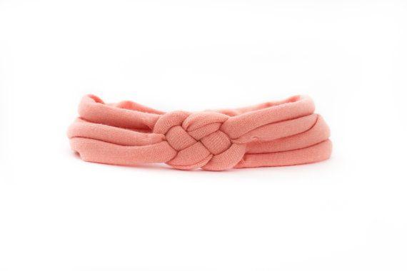 Peach Knot Braid Baby Headband Celtic Sailor Knot Turban by hollyblossoms