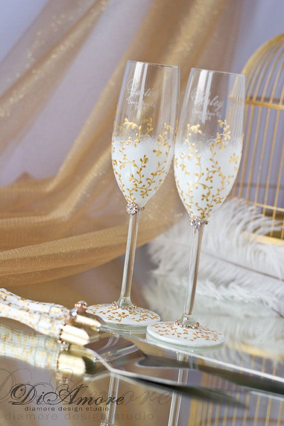 IVORY /GOLD cake knife and server  & wedding glasses от DiAmoreDS