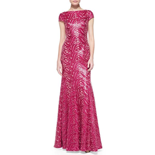 ML Monique Lhuillier Short-Sleeve Open-Back Sequined Gown ($335) ❤ liked on Polyvore featuring dresses, gowns, raspberry, pink dress, short sleeve gown, sequin evening dresses, pink short sleeve dress and open back sequin dress