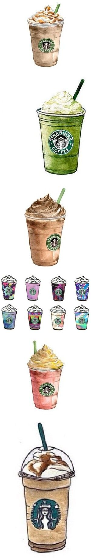 Favorite Tumblr Starbucks Transparents by jewell-in-the-rough on Polyvore featuring food, home, home decor, wall art, fillers, accessories, starbucks, art, watercolor illustration and home wall decor