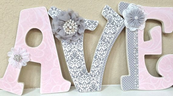 Custom Nursery Letters Baby Girl Nursery by TheRuggedPearl on Etsy