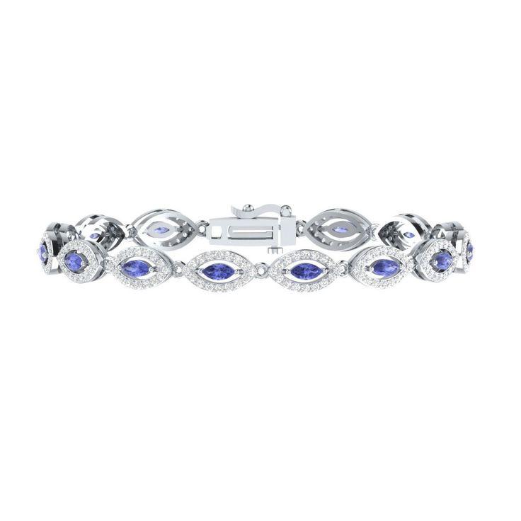 "Womens 7"" Tennis Bracelet 4.50 Ct Blue Tanzanite W/ White Sapphire 925 Sterling #braceletrealgold #Tennis"