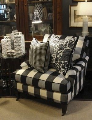 Little French Farmhouse - Black & White, loving the buffalo check