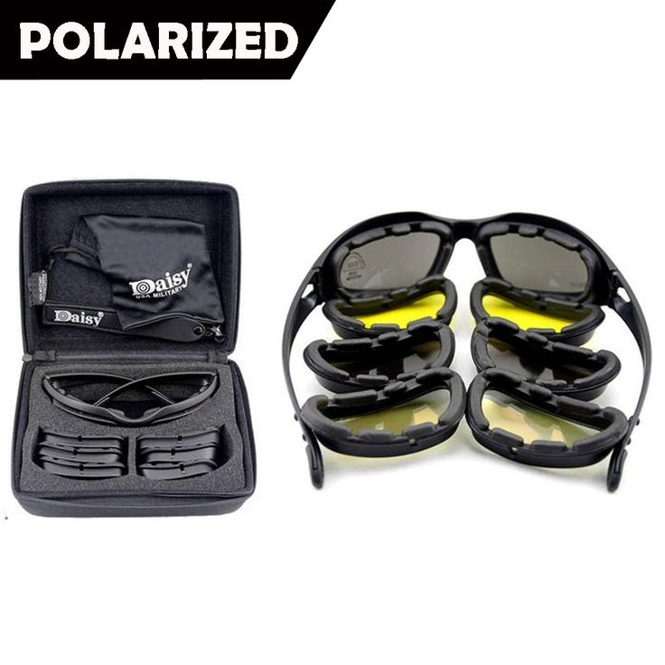 Daisy C5 baru Terpolarisasi Kacamata Tentara, militer Sunglasses 4 Lens Kit, pria Permainan Perang Taktis Kacamata Olahraga Set 9