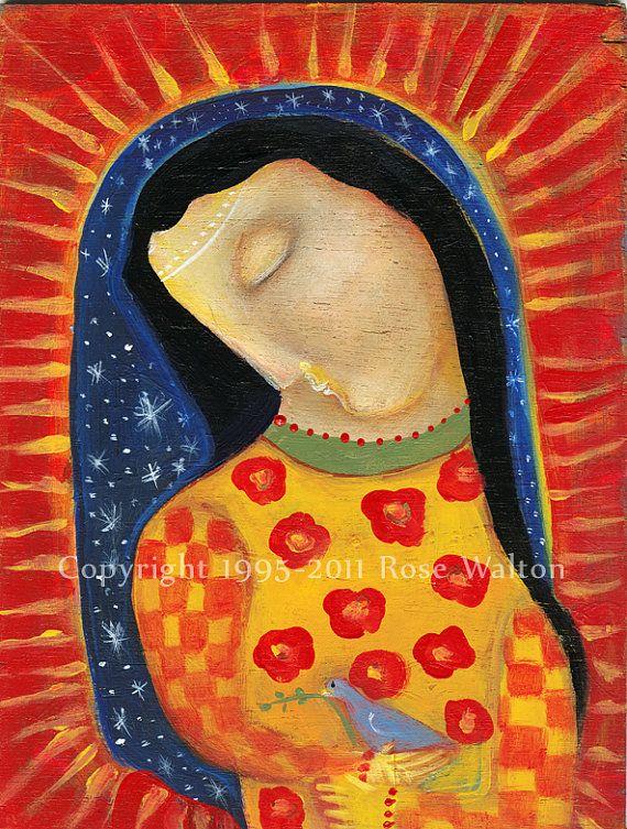 Notre Dame de Guadalupe et la Bluebird primitif par RoseWalton
