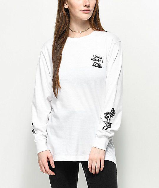Sketchy Tank Adios Amigos White Long Sleeve T-Shirt   Zumiez