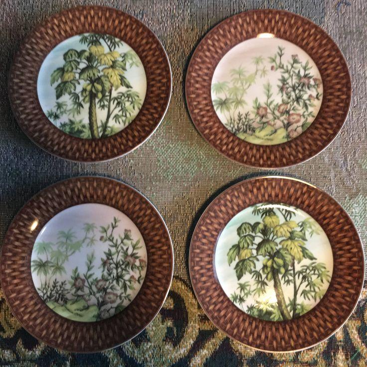 Vintage I. Godinger & Co Tropical Island Splendor Plates Set of 4 Salad, Dessert, Appetizer Palm Tree Decor http://etsy.me/2isfKiK #housewares #green #brown #vintage #plates #godinger #porcelain #tropical #palmtree