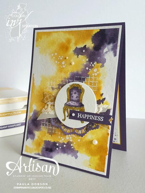 Paula Dobson - Stampinantics.  Out of this world colour combination with the In This World stamp set. Colour Inkspiration #04.  Click on the picture to see more of Paula's projects. #pauladobson #stampinantics #solourinkspiration #inthisworld #watercolorcard